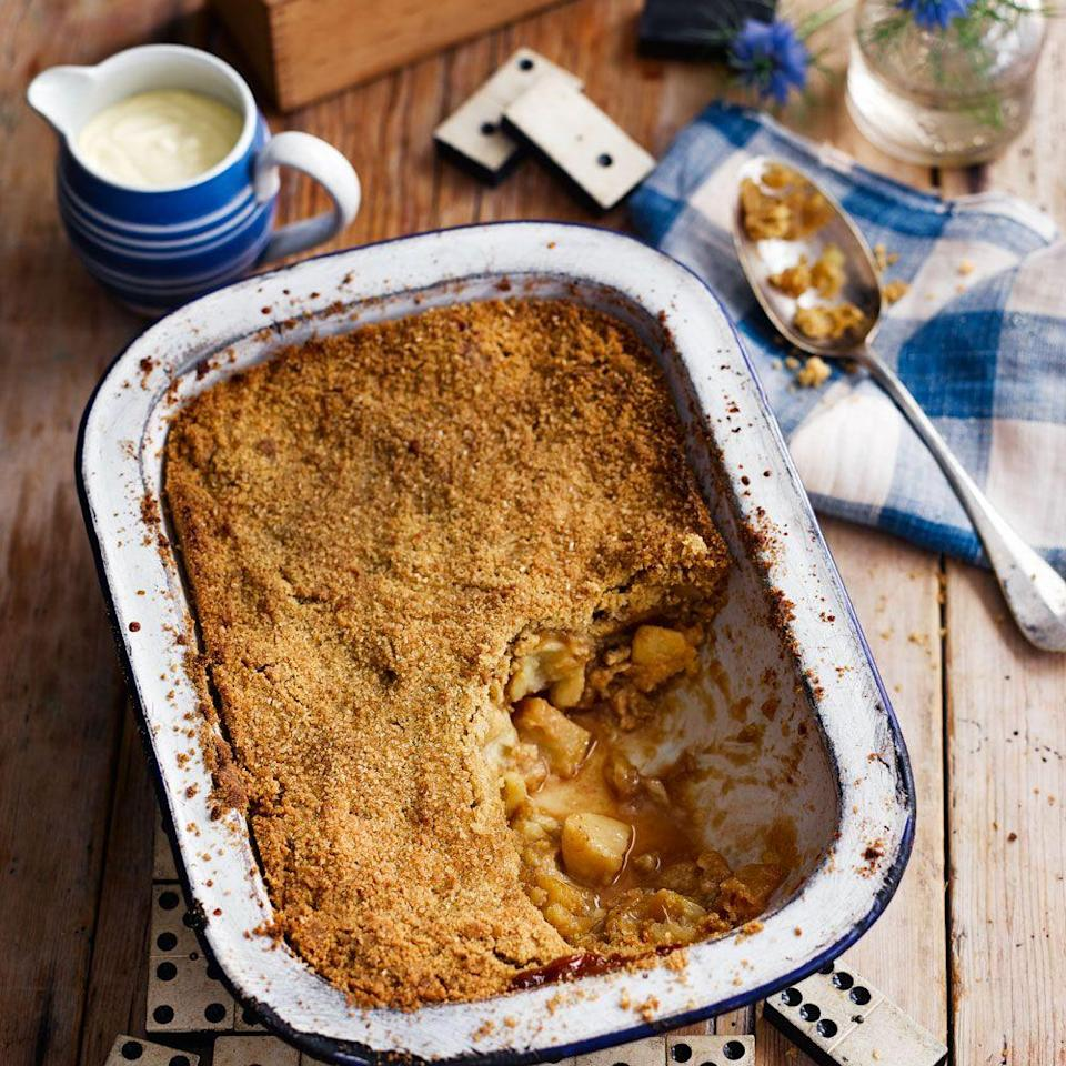 """<p>Is there a more comforting dessert recipe than apple crumble with lashings of custard? This recipe couldn't be easier.</p><p><strong>Recipe: <a href=""""https://www.goodhousekeeping.com/uk/food/recipes/a560395/apple-crumble-recipe/"""" rel=""""nofollow noopener"""" target=""""_blank"""" data-ylk=""""slk:Apple crumble"""" class=""""link rapid-noclick-resp"""">Apple crumble</a></strong></p>"""