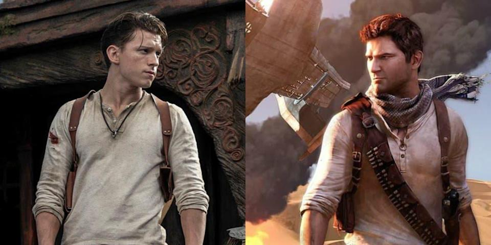Tom Holland (à gauche) en Nathan Drake (à droite) - Sony Pictures - Naughty Dog