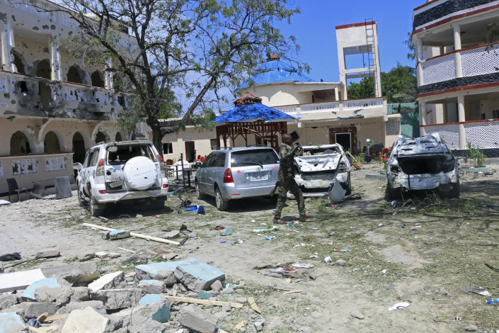 A view of area outside the Asasey Hotel after an attack, in Kismayo, Somalia, Saturday July 13, 2019. (AP Photo)
