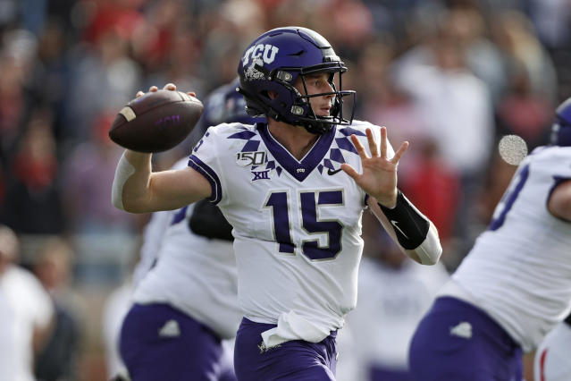 TCU's Max Duggan (15) passes the ball during the first half of an NCAA college football game against Texas Tech, Saturday, Nov. 16, 2019, in Lubbock, Texas. (Brad Tollefson/Lubbock Avalanche-Journal via AP)