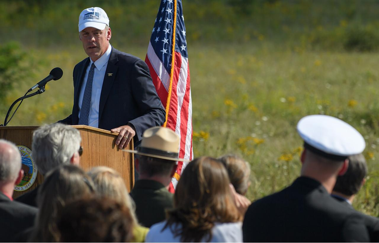 US Secretary of the Interior Ryan Zinke spoke at the groundbreaking of the Tower Of Voices at the Flight 93 National Memorial on, September 10, 2017 in Shanksville, Pennsylvania. Zinke becomes the fourth Cabinet member to use non-commercial aircraft.