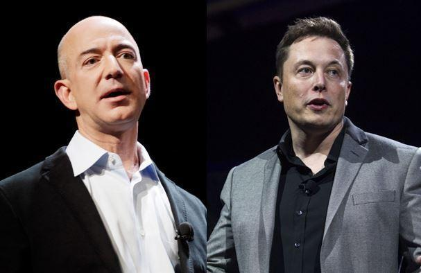 Amazon CEO Jeff Bezos (left), SpaceX CEO Elon Musk (right) are the two wealthiest men in the world. / Credit: AP Photos/Mark Lennihan/Ringo H.W. Chiu
