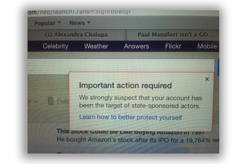 Screengrab of the Yahoo security warning. (Photo: Yahoo News photo)