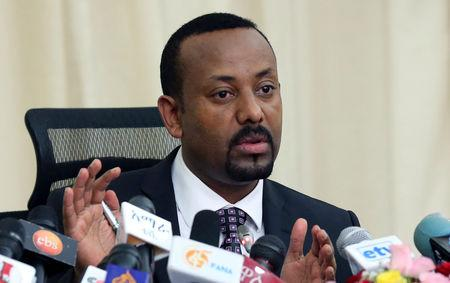 FILE PHOTO: Ethiopia's Prime Minister, Abiy Ahmed addresses a news conference in his office in Addis Ababa, Ethiopia August 25, 2018. REUTERS/Kumera Gemechu/File Photo