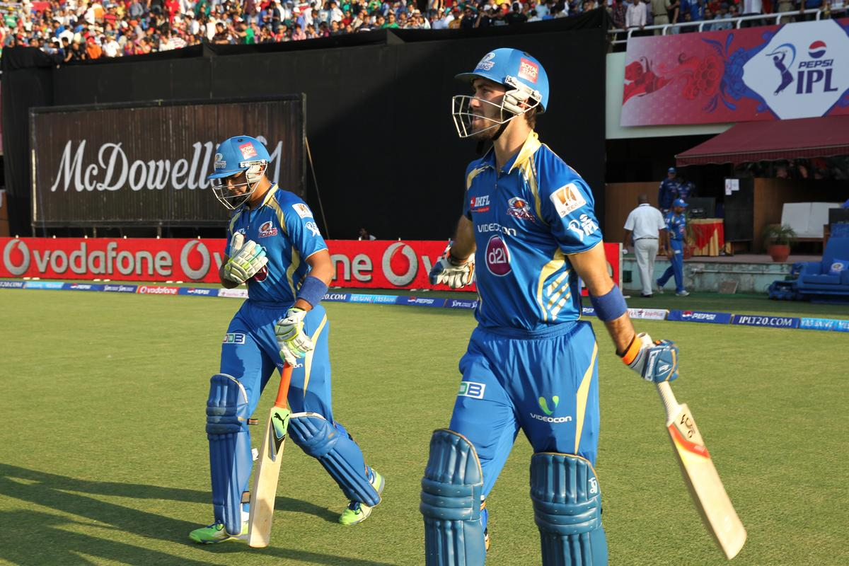 Mumbai Indians openers Aditya Tare and Glean Maxwell during match 69 of the Pepsi Indian Premier League between The Kings XI Punjab and the Mumbai Indians held at the HPCA Stadium in Dharamsala, Himachal Pradesh, India on the on the 18th May 2013. (BCCI)