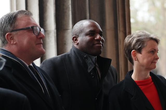 Lammy (centre) criticised Johnson over the series of tweets. (Getty)