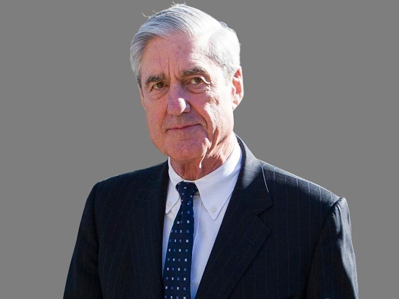 Robert Mueller headshot, Special Counsel, graphic element on gray