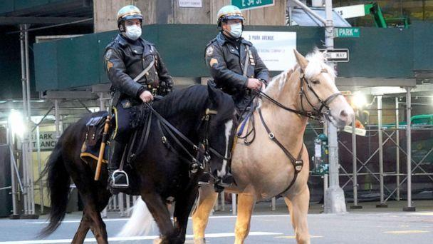 PHOTO: Two police officers from the mounted unit of NYPD are seen at 34th street on April 23, 2020 in New York City. (NurPhoto via Getty Images)