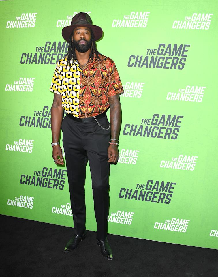 "WHAT: Gunner Foxx hat, Prada shirt, Esquivel shoes<br> WHERE: The premiere of ""The Game Changers"" in Los Angeles<br> WHEN: September 4, 2019<br> WHY: DeAndre Jordan's wild Western style might be specific to him, but we want in."