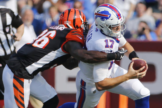Playing Josh Allen too early behind Buffalo's offensive line could prove disastrous. (AP)