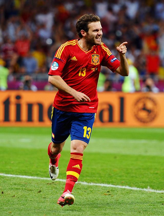 KIEV, UKRAINE - JULY 01: Juan Mata of Spain celebrates after scoring his team's fourth goal during the UEFA EURO 2012 final match between Spain and Italy at the Olympic Stadium on July 1, 2012 in Kiev, Ukraine. (Photo by Laurence Griffiths/Getty Images)
