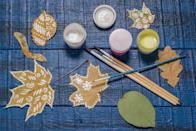 <p>Leaf-crafting is easy, fun, and—since you're likely to have a few spare mason jars, glue or twine around the house—completely free.</p>