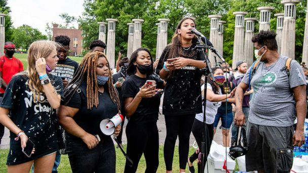 PHOTO: Organizers from Teens4Equality speak as protestors gather in Bicentennial Mall Park in Nashville, June 4, 2020. (Amy Harris/REX via Shutterstock)