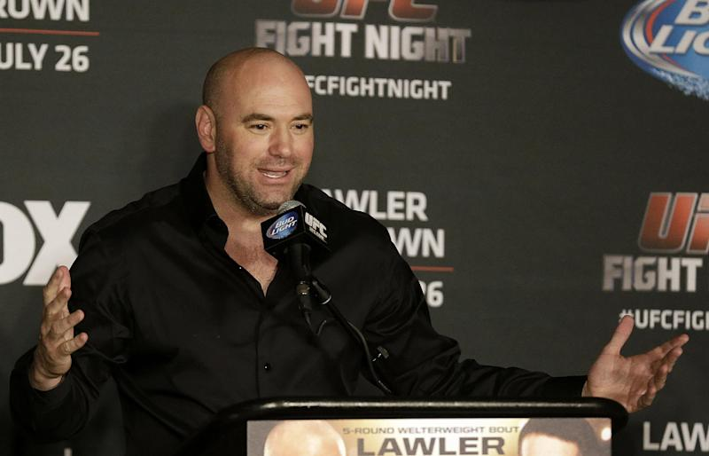 UFC President Dana White speaks at a news conference after a UFC event in San Jose, Calif., Saturday, July 26, 2014