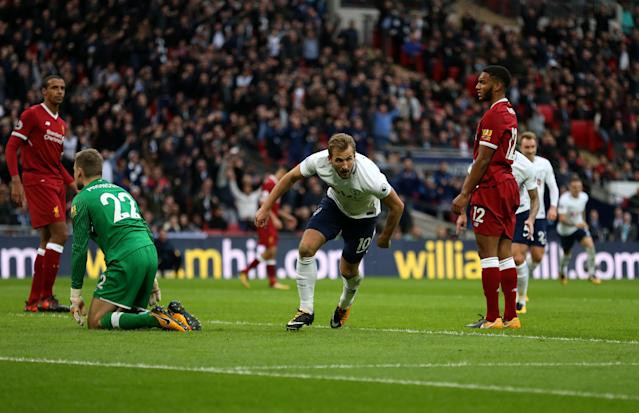 Harry Kane scored two of Tottenham's four goals against Liverpool. (Getty)