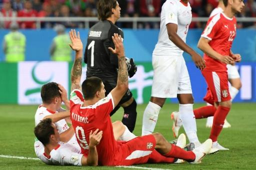 Serbia's Aleksandar Mitrovic appeals for a penalty in the World Cup E game against Switzerland