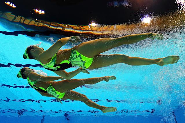 Pamela Fischer and Anja Nyffeler of Switzerland compete in the Women's Duets Synchronised Swimming Technical Routine on Day 9 of the London 2012 Olympic Games at the Aquatics Centre on August 5, 2012 in London, England. (Photo by Clive Rose/Getty Images)
