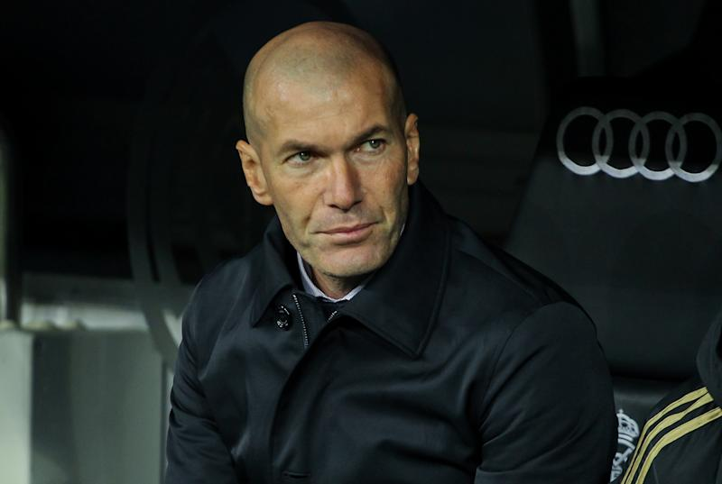 MADRID, SPAIN - FEBRUARY 06: Zinedine Zidane, head coach of Real Madrid looks on during Spanish Cup, Copa del Rey, football match played between Real Madrid and Real Sociedad at Santiago Bernabeu stadium on February 06, 2020 in Madrid, Spain. (Photo by Irina R. H. / AFP7 / Europa Press Sports via Getty Images)