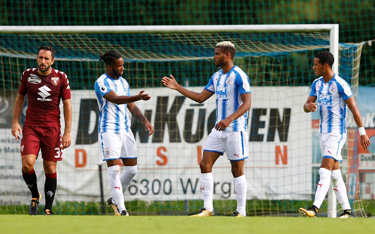 Soccer Football - Torino vs Huddersfield Town - Pre Season Friendly - Jenbach, Austria - August 4, 2017   Huddersfield Town's Steve Mounie celebrates scoring their second goal   Action Images via Reuters/Dominic Ebenbichler