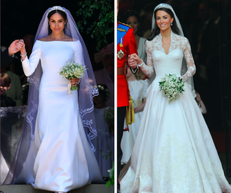 """Katy Perry says she thinks the Duchess of Cambridge, formerly Kate Middleton, """"won"""" theroyal wedding gown contest against Meghan Markle, now the Duchess of Sussex. (Reuters/Getty)"""
