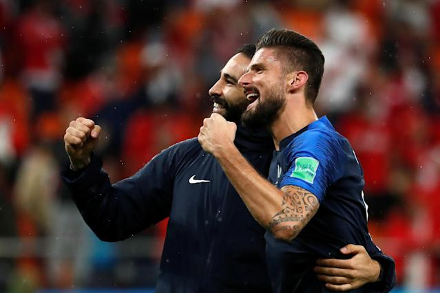 Soccer Football - World Cup - Group C - France vs Peru - Ekaterinburg Arena, Yekaterinburg, Russia - June 21, 2018 France's Adil Rami and Olivier Giroud celebrate victory after the match REUTERS/Damir Sagolj