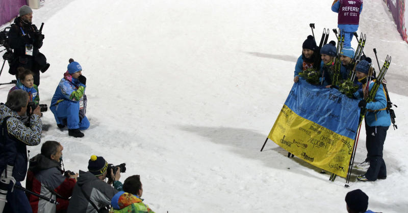 Ukraine wins women's biathlon relay for 1st gold