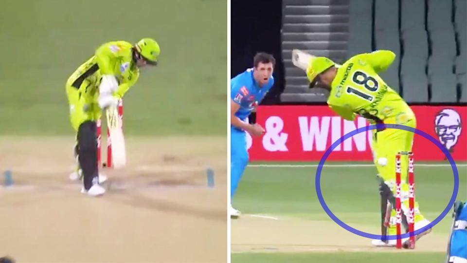 Dan Worrall bowled one of the balls of the BBL tournament (picture dright) to dismiss Usman Khawaja and take out the stumps (pictured left).