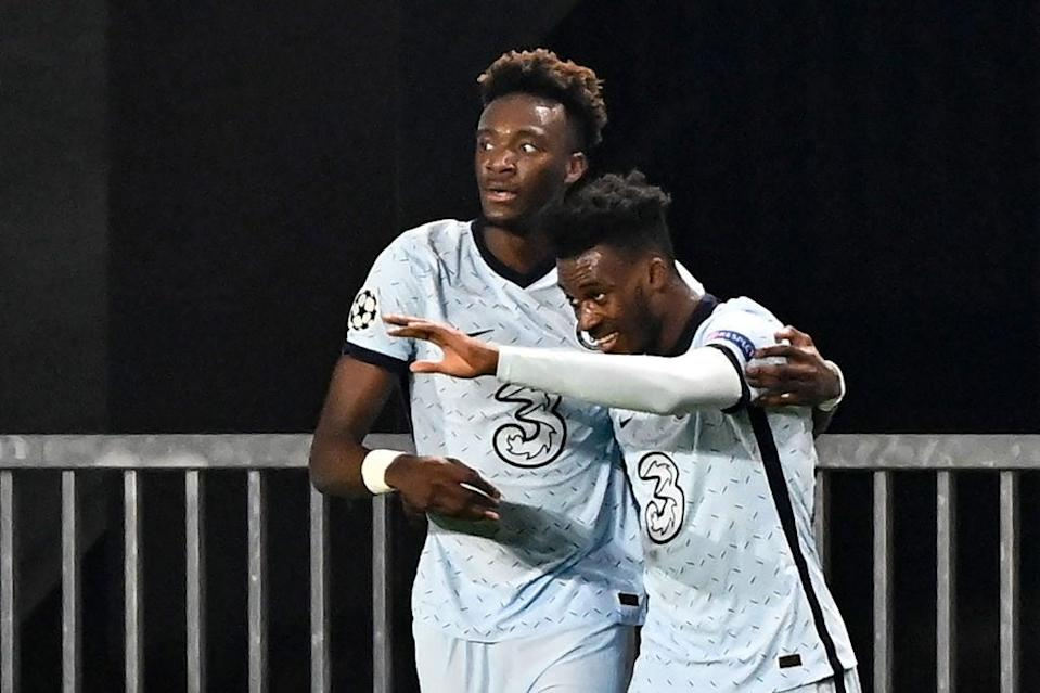 Callum Hudson-Odoi celebrates with Tammy Abraham for Chelsea (AFP via Getty Images)