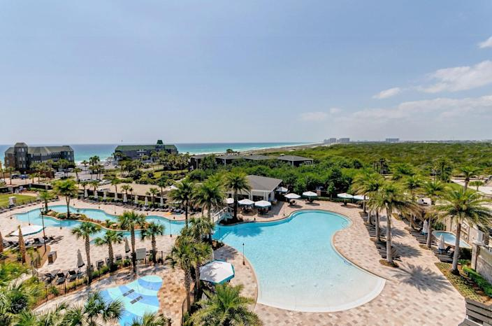 """<p><strong>Best for:</strong> Families of adventurers</p> <p>Known as the """"World's Luckiest Fishing Village,"""" Destin sits on the white sand beaches of northwest Florida overlooking the vivid green waters of the Gulf of Mexico. At beachfront resort <a href=""""https://cna.st/affiliate-link/MQqxxtNLYnQ8oFkSN7SzyJEpCNKRmWDLCDx3k95XqhHVQi5qv6vdQfJyXFAgieT1f25LcyQbEHZ4W4dzFWd3aMYn3p?cid=6073662ed1058698d13c31c5"""" rel=""""nofollow noopener"""" target=""""_blank"""" data-ylk=""""slk:Henderson"""" class=""""link rapid-noclick-resp"""">Henderso<strong>n</strong></a>, there are plenty of ways to test that moniker—hop on a nearby charter boat, or cast off from the shores at the adjacent Henderson Beach State Park (guests of the resort get complimentary day passes). Other adventures include exploring the coastline on paddleboards from the resort's private beach, or biking to the beachfront towns of South Walton on the 18-mile Timpoochee Trail. The lazy river, connected to the family pool, makes for a relaxing post-adventure wind-down. </p> <p><strong>Book now:</strong> <a href=""""https://prf.hn/click/camref:1100l3xo8/pubref:CNT/destination:https%3A%2F%2Fwww.expedia.com%2FFort-Walton-Beach-Destin-Hotels-The-Henderson.h15192425.Hotel-Information"""" rel=""""nofollow noopener"""" target=""""_blank"""" data-ylk=""""slk:From $410 per night, expedia.com"""" class=""""link rapid-noclick-resp"""">From $410 per night, expedia.com</a></p>"""