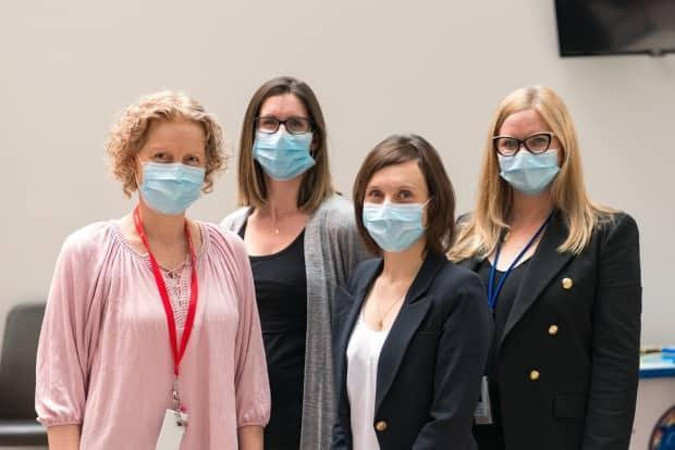 From left to right: Bethany Lezama, physiotherapist; Dr. Elizabeth Randle, gynecologist; Dr. Allana Munro, anesthesiologist; Leah Pink, nurse practitioner.  (Ryan Wilson, IWK - image credit)