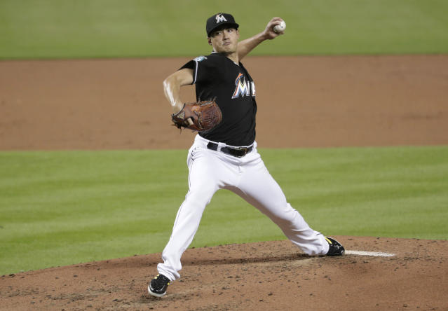 Miami Marlins starting pitcher Wei-Yin Chen delivers during the third inning of a baseball game against the Philadelphia Phillies, Friday, July 13, 2018, in Miami. (AP Photo/Lynne Sladky)