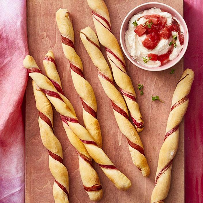 """<p>You can bake these rhubarb twists in the oven for 50 minutes, just the amount of time it'll take you to grill up all the hot dogs and burgers.</p><p><em><strong><a href=""""https://www.womansday.com/food-recipes/food-drinks/a27244051/rhubarb-twists-with-rhubarb-compote/"""" rel=""""nofollow noopener"""" target=""""_blank"""" data-ylk=""""slk:Get the Rhubarb Twists with Rhubarb Compote recipe."""" class=""""link rapid-noclick-resp"""">Get the Rhubarb Twists with Rhubarb Compote recipe.</a></strong></em></p>"""