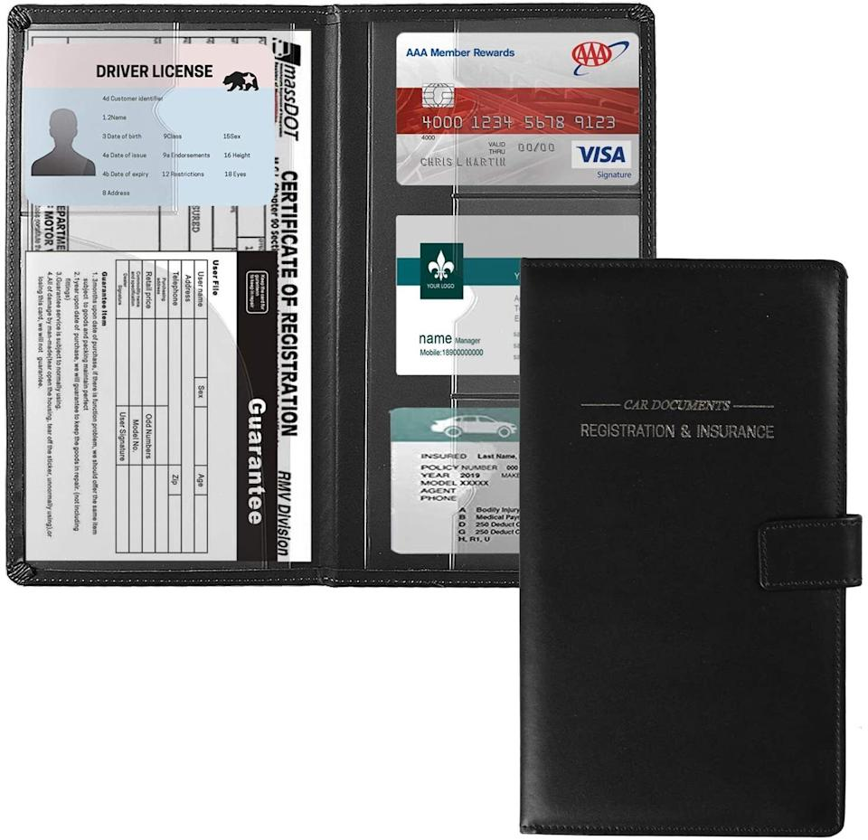 """Important documents shouldn't just be tossed in the glove compartment.<br /><br /><strong>Promising review:</strong>""""This is a great little organizer for your vehicle documents. It's easily stored in your glove box."""" —<a href=""""https://amzn.to/32pwnP7"""" target=""""_blank"""" rel=""""nofollow noopener noreferrer"""" data-skimlinks-tracking=""""5902331"""" data-vars-affiliate=""""Amazon"""" data-vars-href=""""https://www.amazon.com/gp/customer-reviews/RXNUG0L3JGNAS?tag=bfmal-20&ascsubtag=5902331%2C22%2C37%2Cmobile_web%2C0%2C0%2C16540734"""" data-vars-keywords=""""cleaning"""" data-vars-link-id=""""16540734"""" data-vars-price="""""""" data-vars-product-id=""""20969711"""" data-vars-product-img="""""""" data-vars-product-title="""""""" data-vars-retailers=""""Amazon"""">Angela Downey</a><br /><br /><strong>Get it from Amazon for<a href=""""https://amzn.to/3uSixRz"""" target=""""_blank"""" rel=""""nofollow noopener noreferrer"""" data-skimlinks-tracking=""""5902331"""" data-vars-affiliate=""""Amazon"""" data-vars-asin=""""B08LPB82DM"""" data-vars-href=""""https://www.amazon.com/dp/B08LPB82DM?tag=bfmal-20&ascsubtag=5902331%2C22%2C37%2Cmobile_web%2C0%2C0%2C16540663"""" data-vars-keywords=""""cleaning"""" data-vars-link-id=""""16540663"""" data-vars-price="""""""" data-vars-product-id=""""20969198"""" data-vars-product-img=""""https://m.media-amazon.com/images/I/51M+nuEkF4L.jpg"""" data-vars-product-title=""""GNEGNI Leather Car Registration and Insurance Card Holder, Auto Truck Document Holder Vehicle Glove Box Paperwork Organizer Wallet with Magnetic Closure for License, Cards & Essential Documents"""" data-vars-retailers=""""Amazon"""">$10.99</a>(available in six colors).</strong>"""