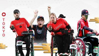 From L to R: Boccia athletes Iulian Ciobanu, Danik Allard, Alison Levine, and Marco Dispaltro have been named to the Tokyo 2020 Canadian Paralympic Team. (CNW Group/Canadian Paralympic Committee (Sponsorships))