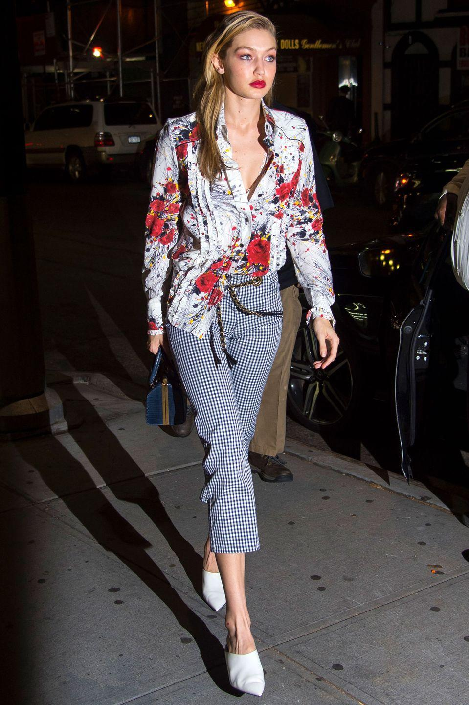 <p>In a Prada floral blouse, Miaou gingham pants and white Stella Luna shoes after a photoshoot in NYC. </p>
