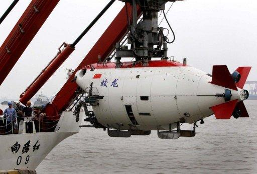 "The Chinese submersible ""Jiaolong"" is lifted into the Huanghai sea in Jiangyin in 2011"