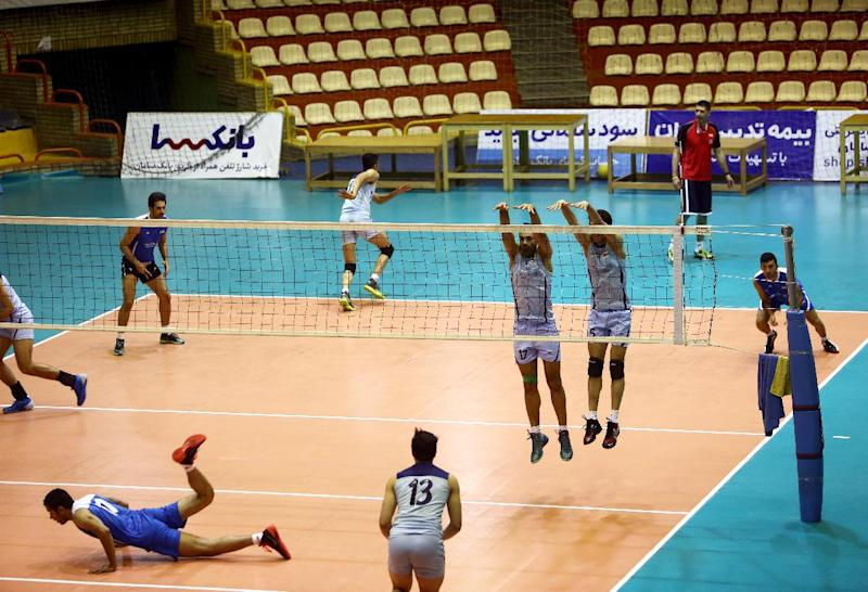 91db508b4 Iran  39 s volleyball national team players participate in a training  session at Azadi