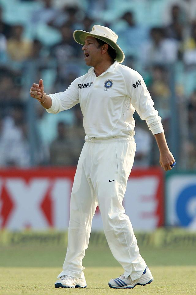 Sachin Tendulkar of India reacts after an opportunity for a catch is missed during day three of the first Star Sports test match between India and The West Indies held at The Eden Gardens Stadium in Kolkata, India on the 8th November 2013  Photo by: Ron Gaunt - BCCI - SPORTZPICS