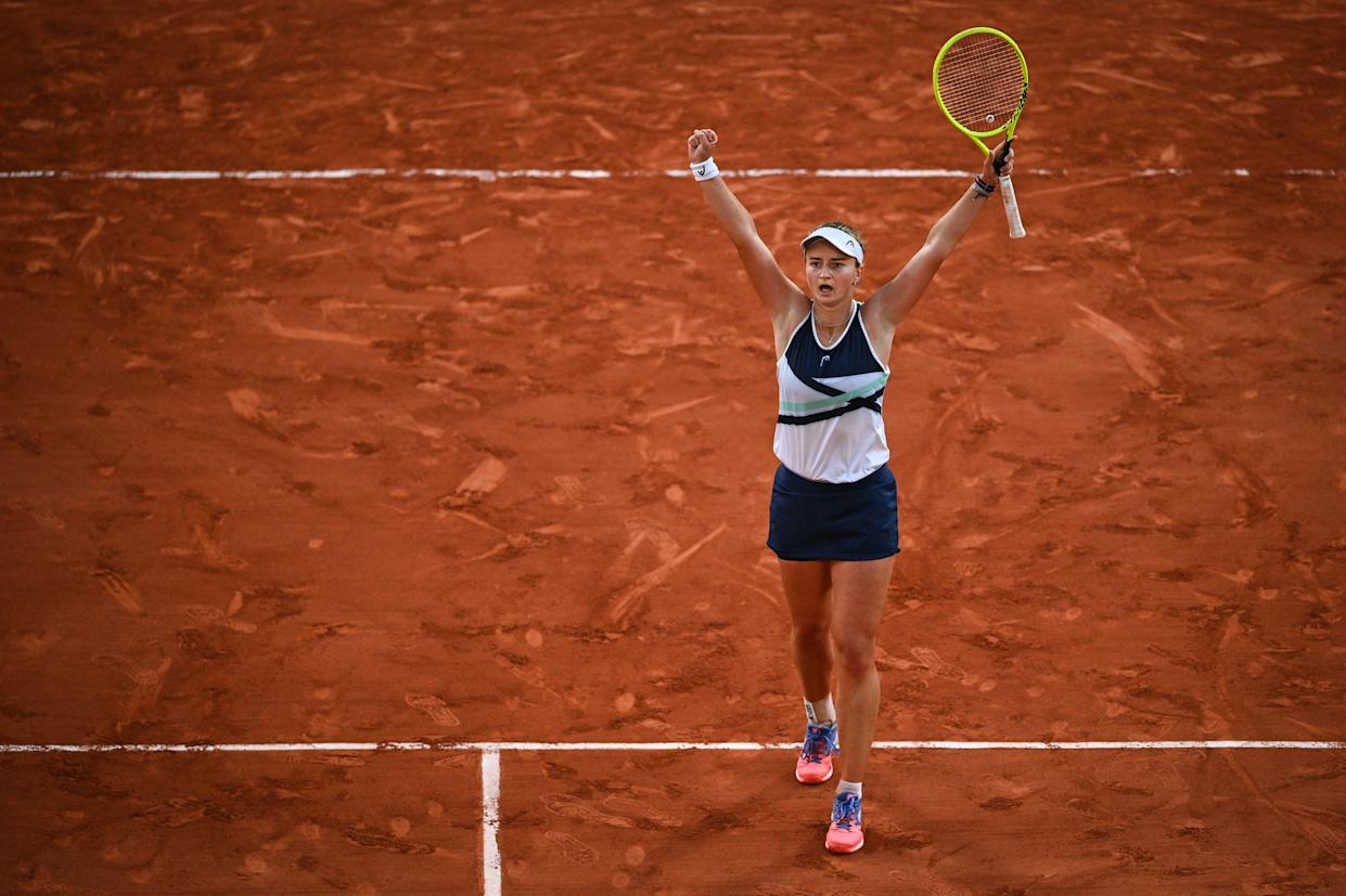 Czech Republic's Barbora Krejcikova celebrates after winning against Greece's Maria Sakkari at the end of their women's singles semi-final tennis match on Day 12 of The Roland Garros 2021 French Open tennis tournament in Paris on June 10, 2021. (Photo by Anne-Christine POUJOULAT / AFP) (Photo by ANNE-CHRISTINE POUJOULAT/AFP via Getty Images)