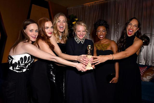 <p><em>The Handmaid's Tale</em> stars Alexis Bledel, Madeline Brewer, Yvonne Strahovski, Elisabeth Moss, Samira Wiley, and Amanda Brugel attend the Fox, FX and Hulu Golden Globe after-party at the Beverly Hilton Hotel. (Photo: Presley Ann/Getty Images) </p>