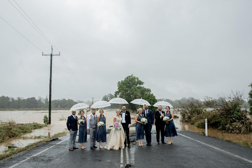 Kate Fotheringham and Wayne Bell with their bridal party