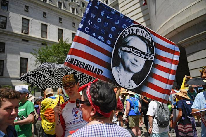 <p>Activists including hundreds of environmentalists and Bernie Sanders supporters march through downtown before the start of the Democratic National Convention (DNC) on July 24, 2016 in Philadelphia, Pennsylvania. (Jeff J Mitchell/Getty Images)</p>