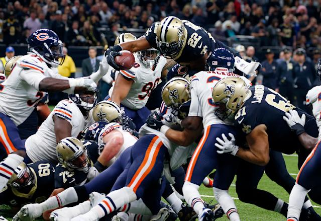 <p>New Orleans Saints running back Mark Ingram (22) leaps for a touchdown in the first half of an NFL football game against the Chicago Bears in New Orleans, Sunday, Oct. 29, 2017. (AP Photo/Butch Dill) </p>