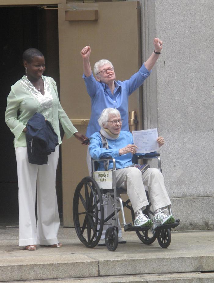 Phyllis and Connie were the first same-sex couple to be married in New York City.  Joao Costa/Yahoo! News