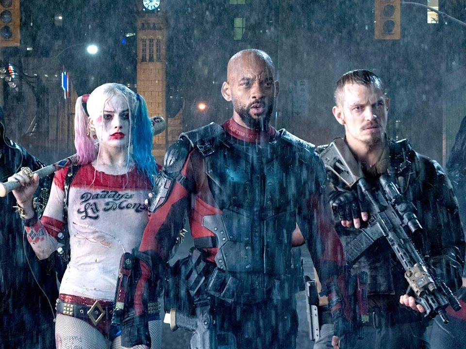 <p>Margot Robbie, Will Smith and Joel Kinnaman in 2016's 'Suicide Squad'</p> (Warner Bros)