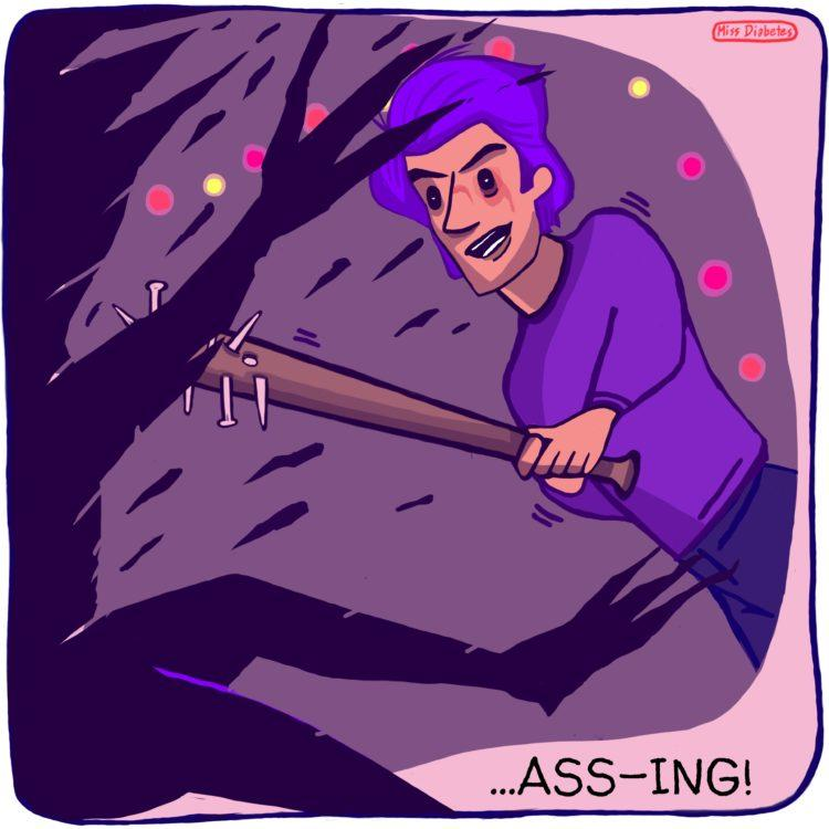 "boy hitting demagorgon with bat with nails, text ""ass-ing"""