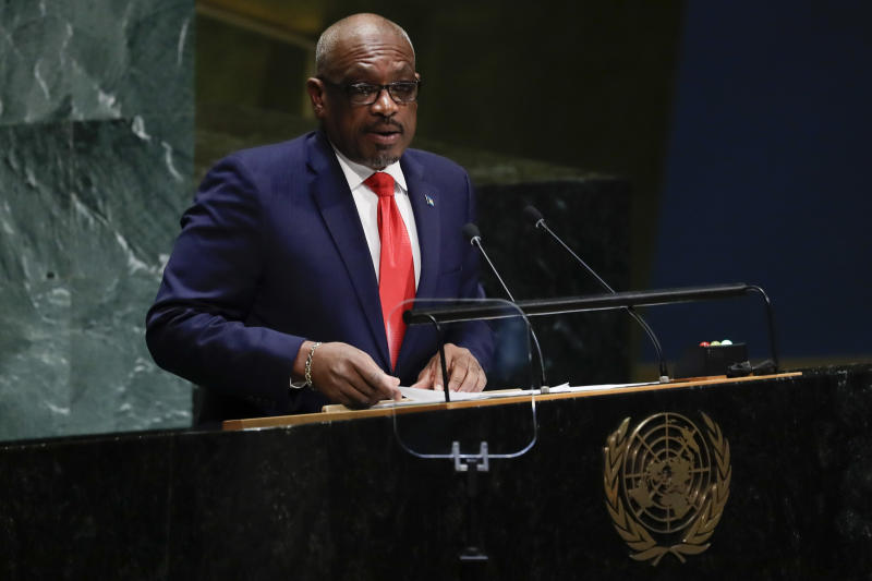 The Bahamas' Prime Minister Hubert Minnis addresses the 74th session of the United Nations General Assembly, Friday, Sept. 27, 2019, at the United Nations headquarters. (AP Photo/Frank Franklin II)