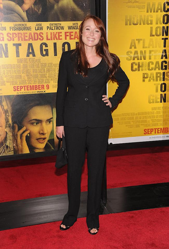 """<a href=""""http://movies.yahoo.com/movie/contributor/1800020527"""">Jennifer Ehle</a> at the New York City premiere of <a href=""""http://movies.yahoo.com/movie/1810161340/info"""">Contagion</a> on September 7, 2011."""
