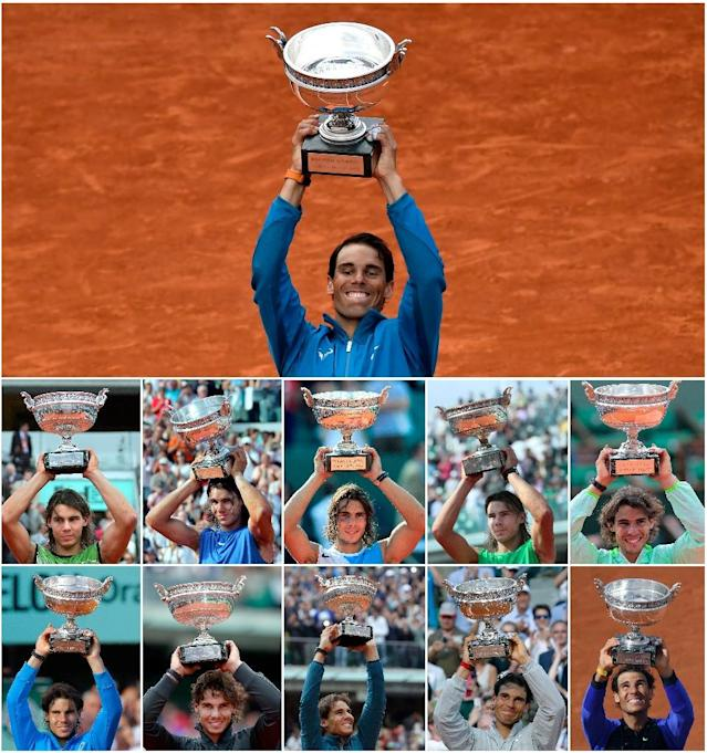 Heaven eleven: This combination of pictures shows Rafael Nadal posing with the French Open trophy at every one of his 11 victories since 2005 (AFP Photo/-)