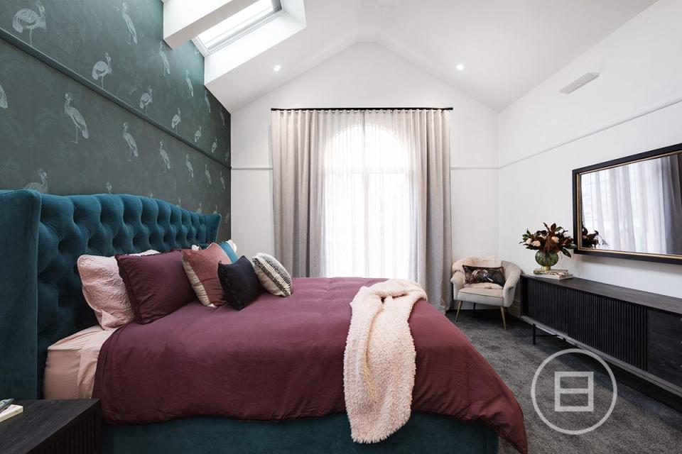 Harry and Tash's master bedroom on The Block. Photo: Domain